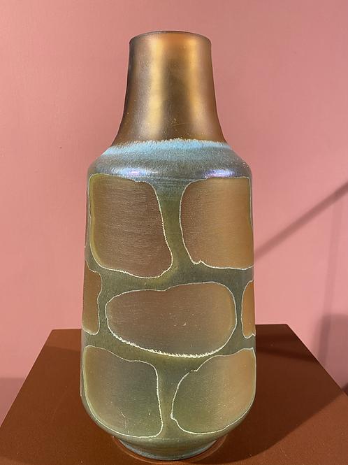 Glazen vaas in groen en goud