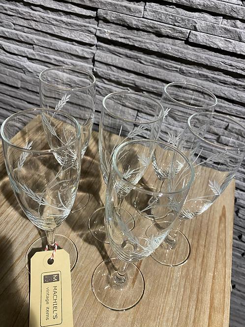 Set van 6 mooie gegraveerde glaasjes