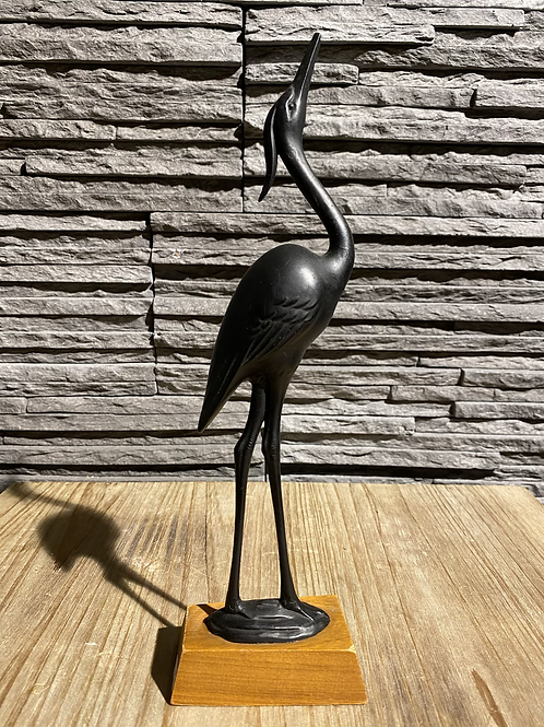 Decoratief vogeltje kunststof op houten voetje