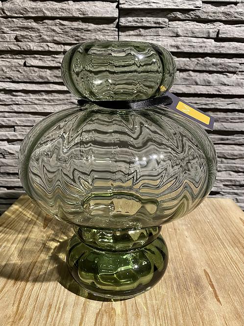 Groene glazen vaas - laag
