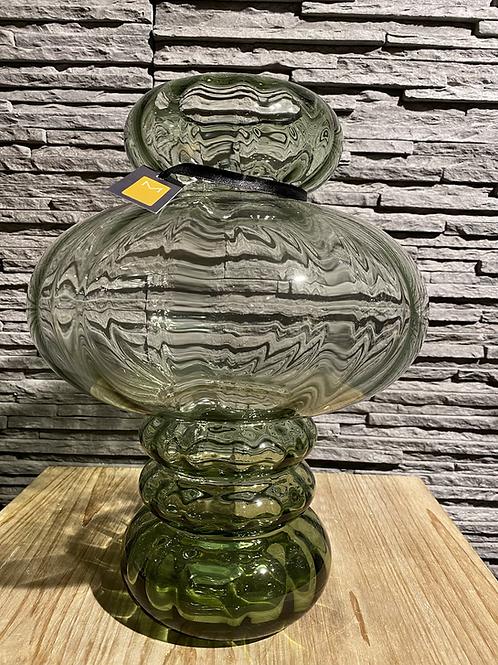 Groene glazen vaas - hoog