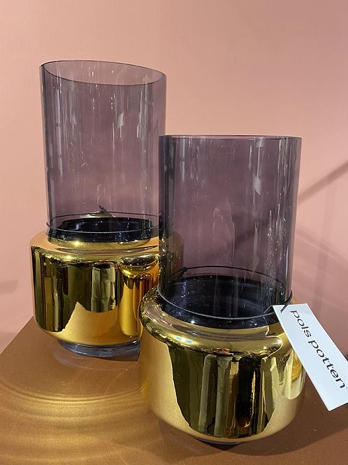 Glazen cilindervaas in goud en rookglas, medium, Pols Potten