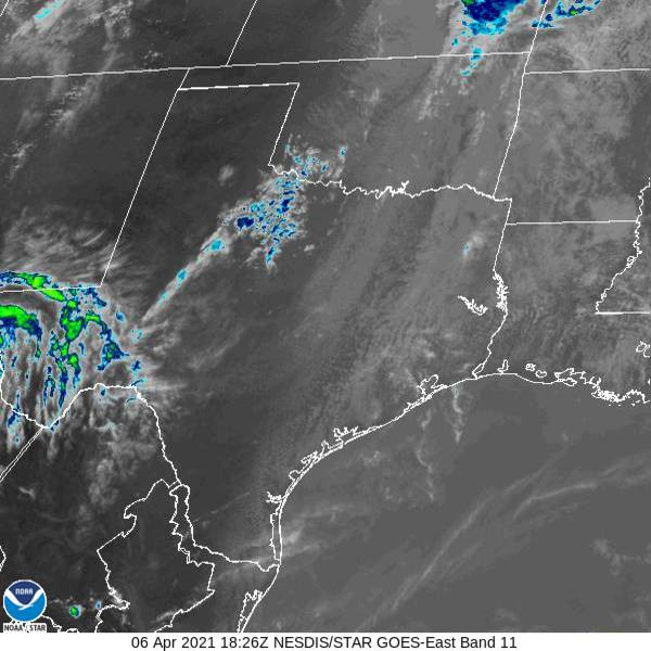 Satellite image of clouds over east Texas.
