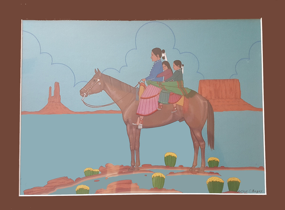 Bernadette's grandmother herself and sister on a horse on Navajo Reservation