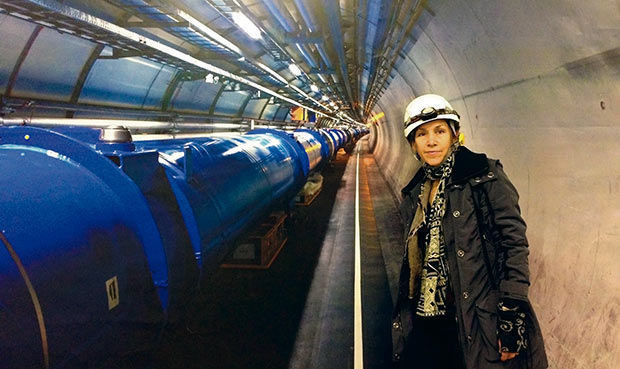 Agnes in hard hat at the Hadron Collider