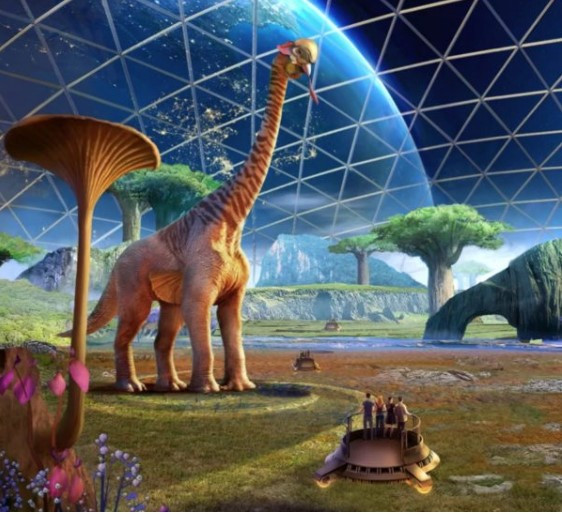 Painting of people who might experience Jurassic land of dinosaurs