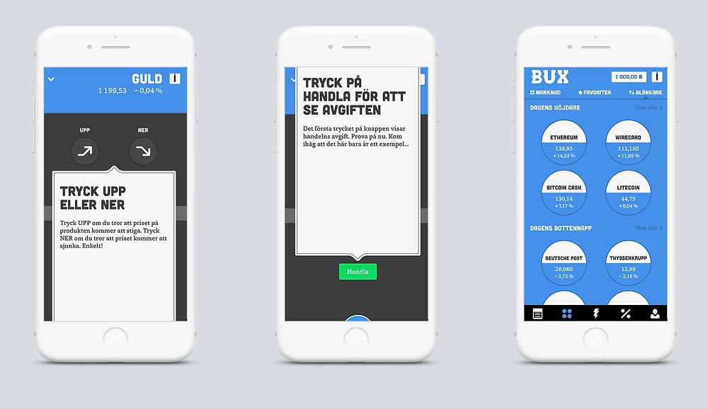 BUX trading app screens