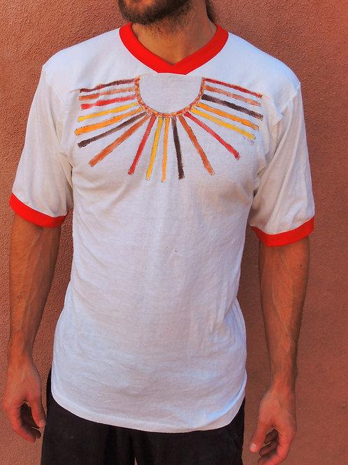 Vintage Unisex Sunburst Hand Painted Football Ringer Tshirt