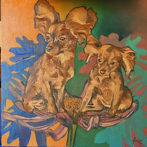 Custom Pet Portrait: 12x12 Oil Painting In Color