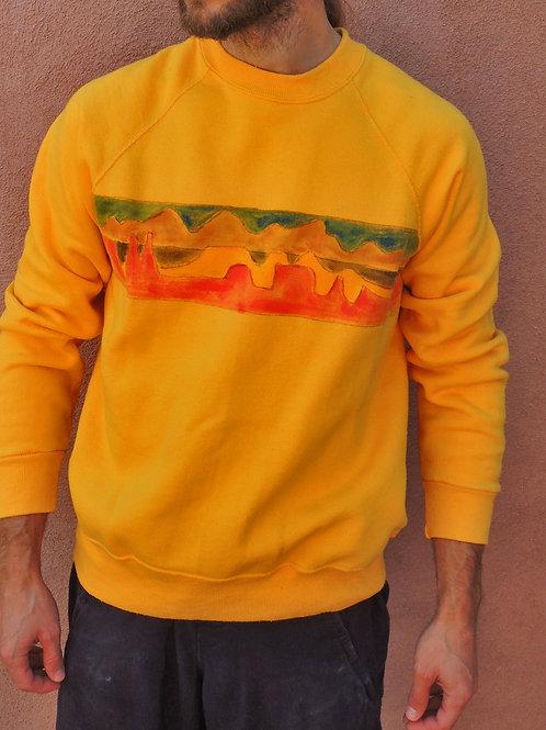 Vintage Unisex Mountain Range Hand Painted Raglan Sweatshirt