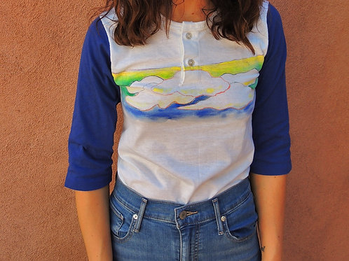 Vintage Cloud Cover Hand Painted Deadstock Raglan 3/4 Sleeve Tshirt Made In USA