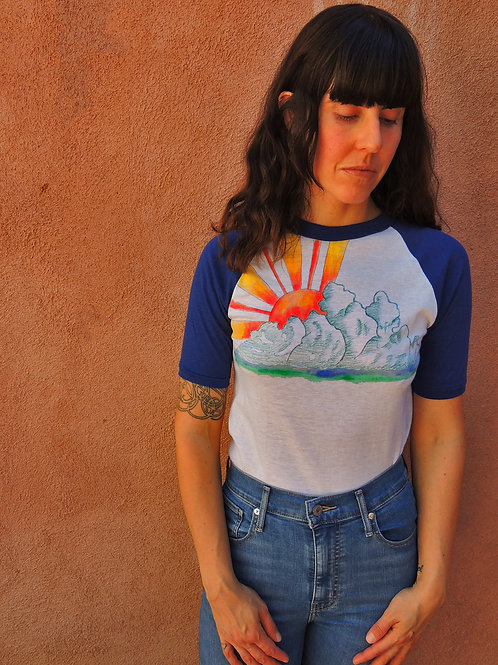 Vintage 80s Here Comes The Sun Hand Painted Deadstock Raglan Half Sleeve Tshirt