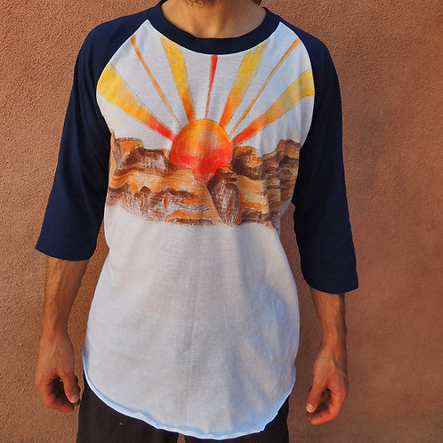 Vintage Unisex Sunrise Over The Canyon Hand Painted Deadstock Raglan 3/4 Sleeve