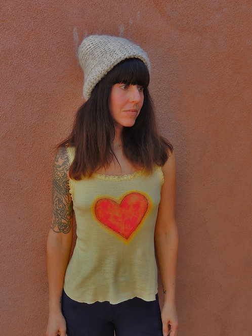 Vintage Heart Opener Hand Painted Screen Stars Tank Top XS-Small