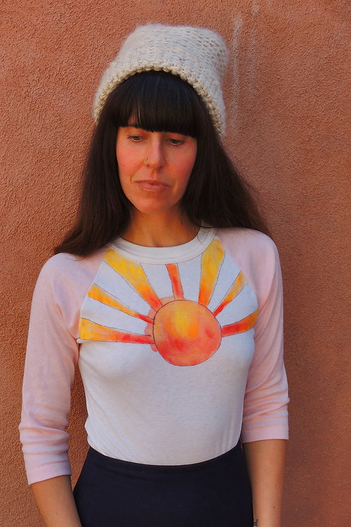 Vintage Heart Opener Hand Painted Pink And White Raglan 3/4 Sleeve Tshirt