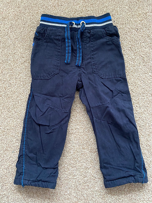 Boys blue lined trousers 9-12 months