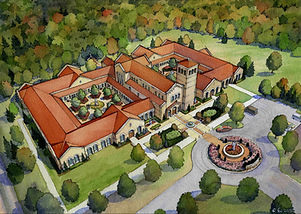 St Gabriel Monastery-aerial watercolor-l