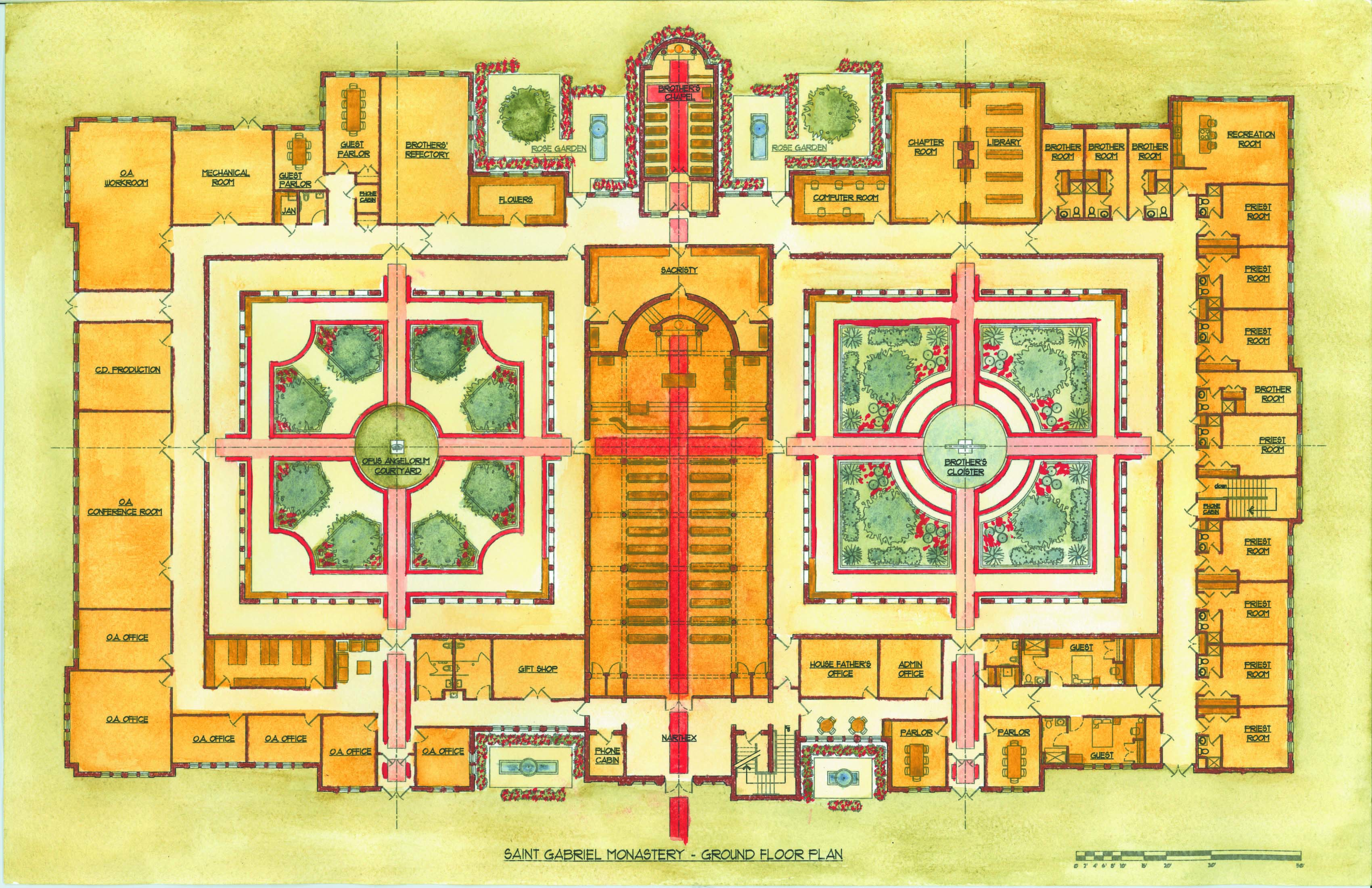 St. Gabriel Monastery - Watercolor Floor Plan