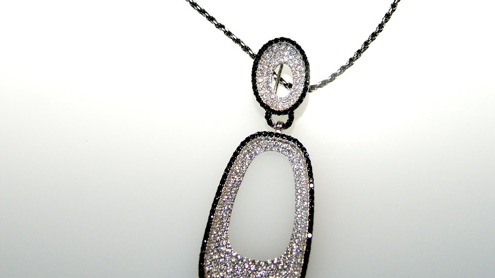 Black and White Pave Pendant