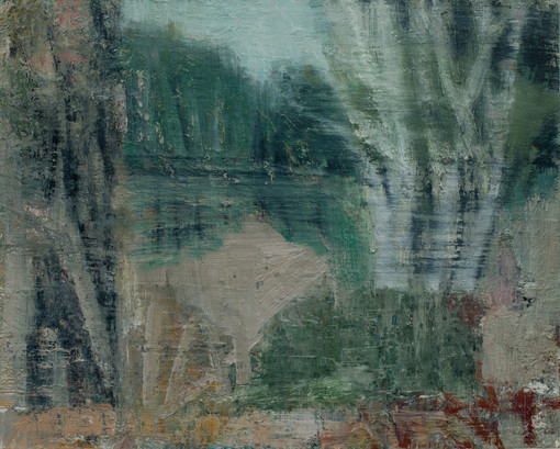 Long Pond 2018 oil on birch board 40 x 50cm