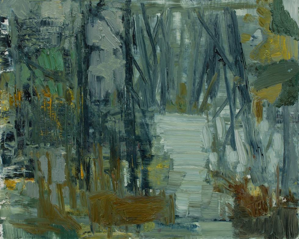 Forest path 2019 oil on birch board 40 x 50cm