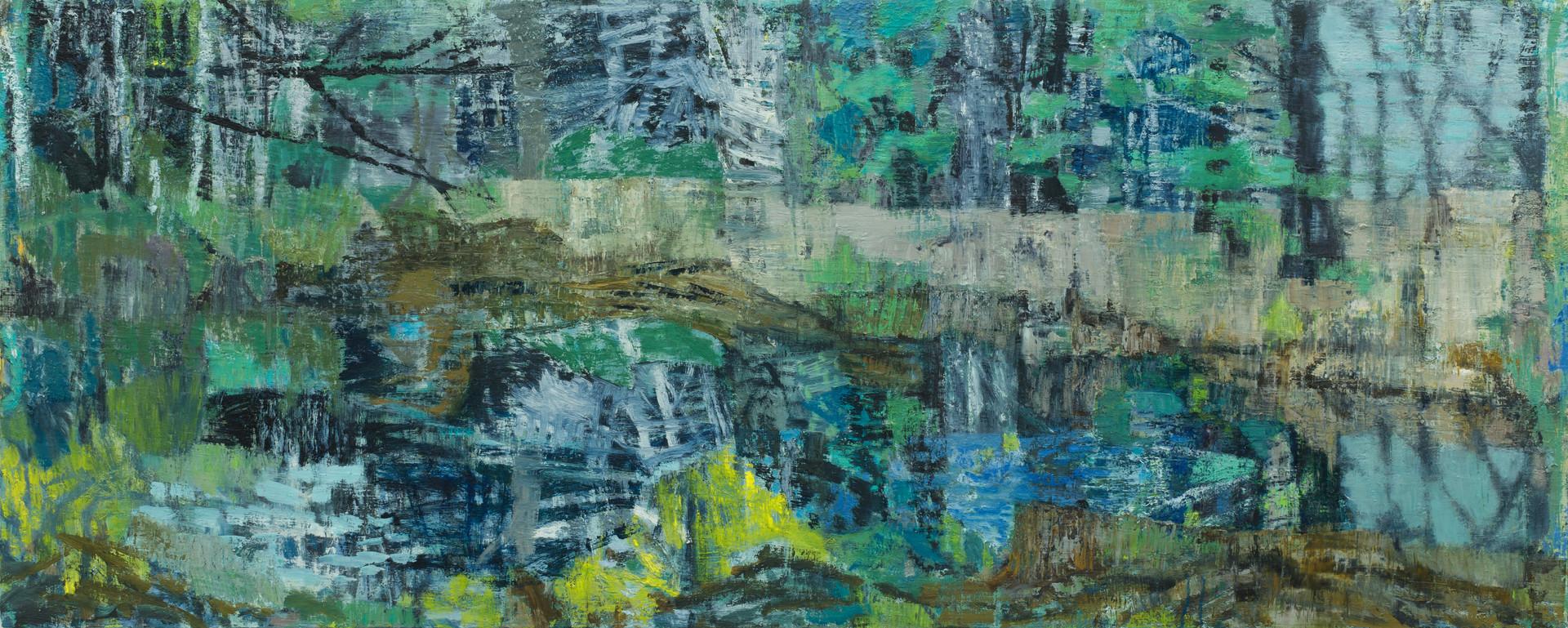 Blue forest pool 2019  oil on linen 80 x 200cm
