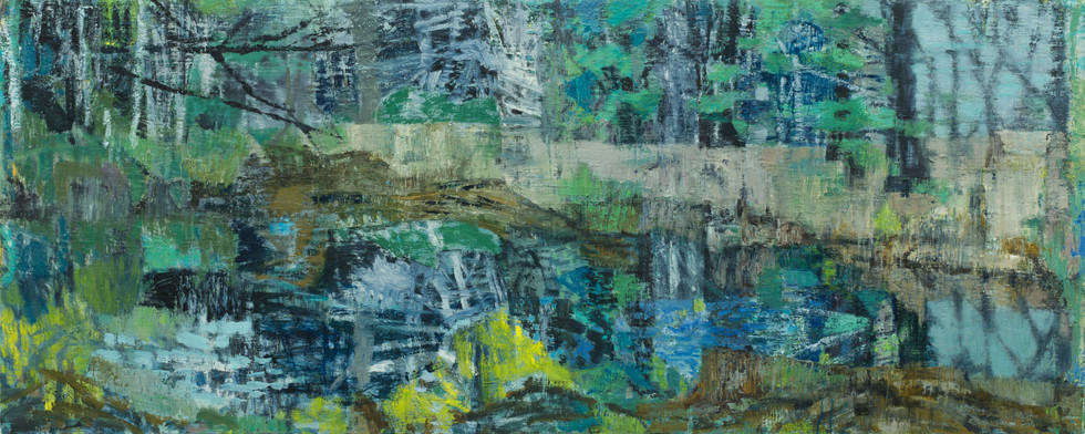 Blue forest pool 2019  oil on linen 80 x 200cm