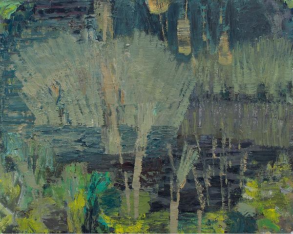 Bulrushes 2020 oil on birch board 41 x 5
