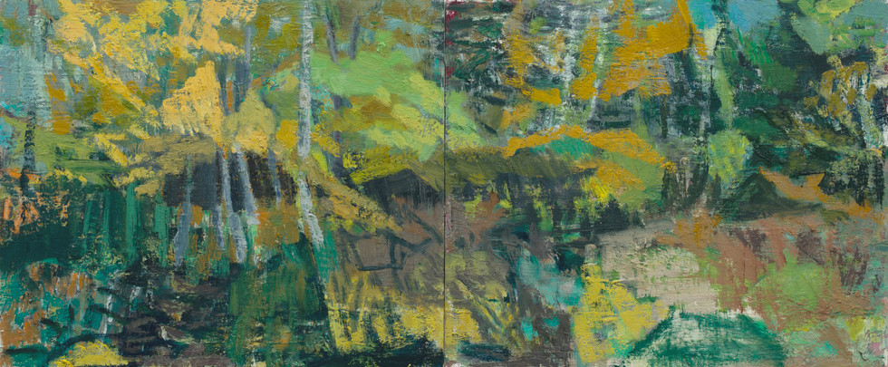 Wild Acadia Garden - Fall 2019  oil on birch board 50 x 120cm