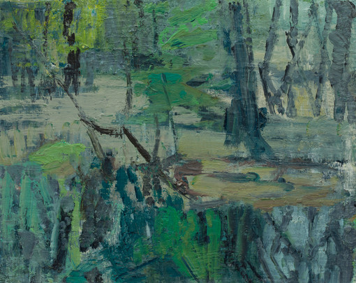 Forest pool on dusk 2019 oil on birch  40 x 50cm