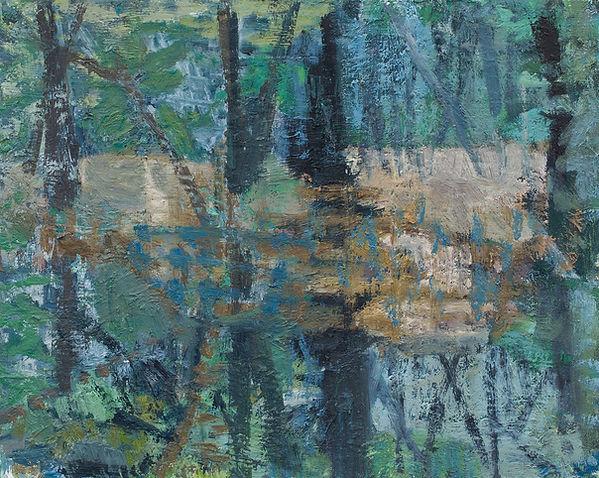 Blue forest pool 2020 oil on birch board