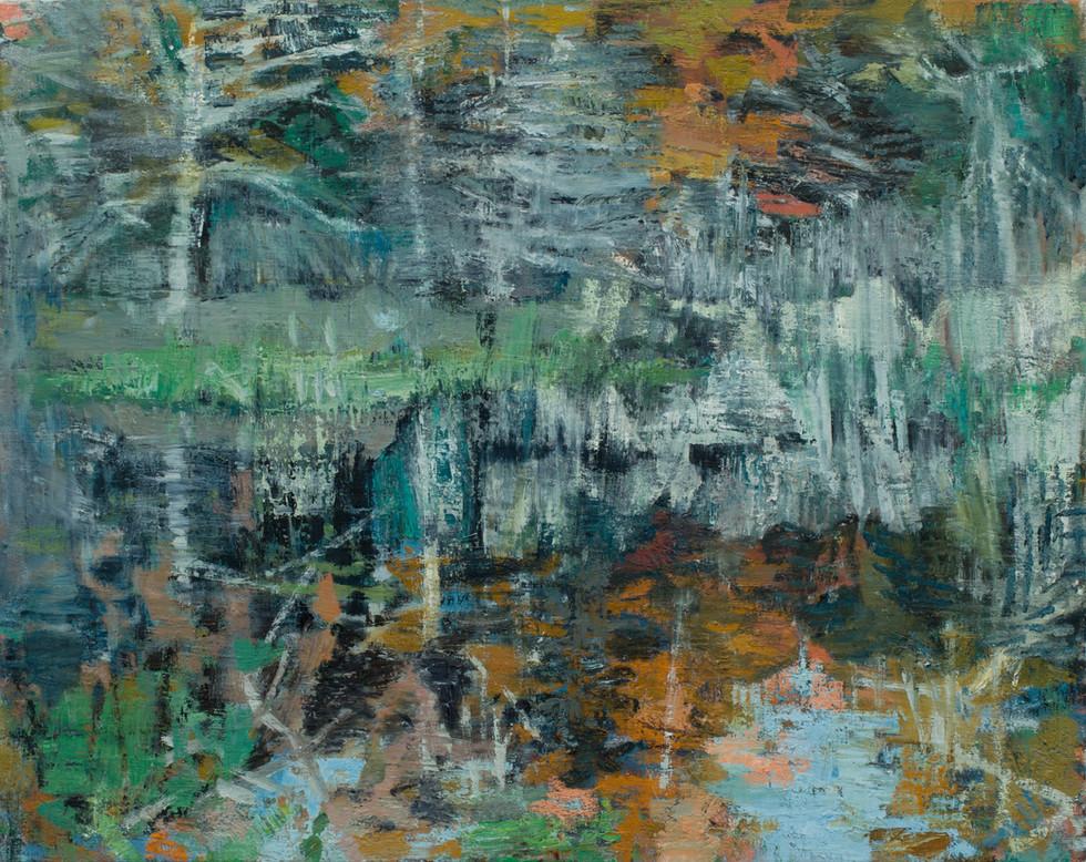Marsh with blue pool 2019 oil on linen 100 x 126cm