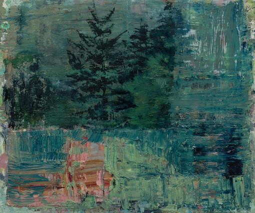 Shore path 2019 oil on birch board 50 x 60cm