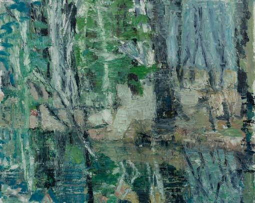 Forest pool I 2019 oil on birch board 40 x 50cm