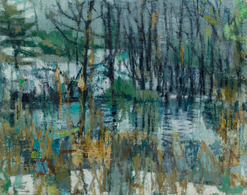 Winter pool 2019  oil on linen  100 x 126cm