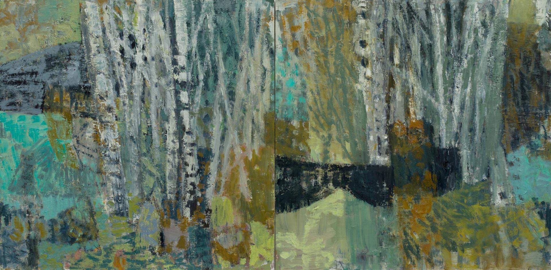 Where the birch meets the sea 2019 oil on linen 60 x 120cm