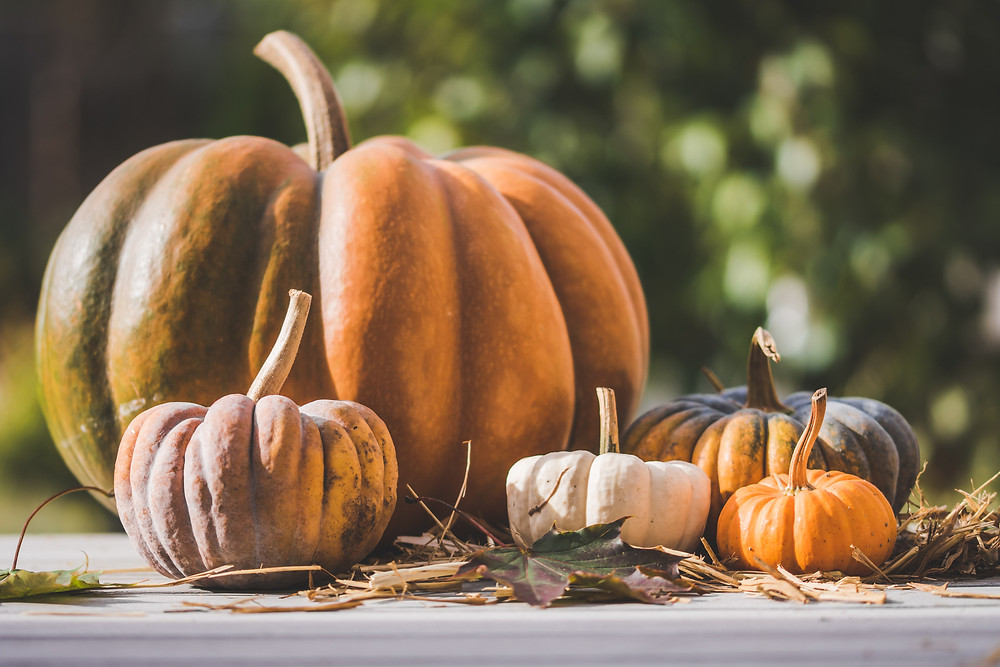 Pumpkins sitting on a table outside