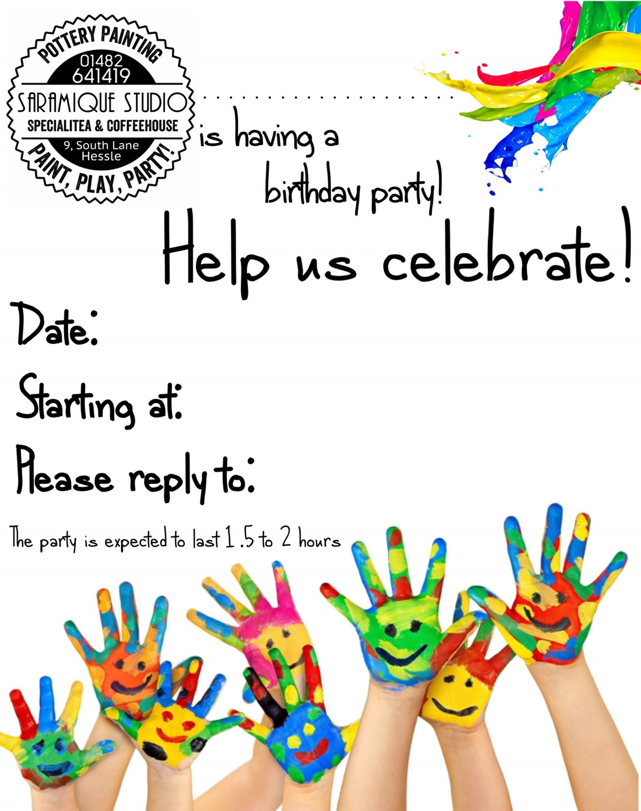 Saramique Studio | Pottery painting Hull | Children\'s parties