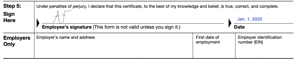 W-4 Form Step 5 Signature