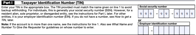 W-9 Form Taxpayer Identification Number