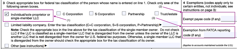 W-9 Form Federal Tax Classification and Withholding Exemption