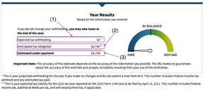 W-4 Form Withholding Estimator Results