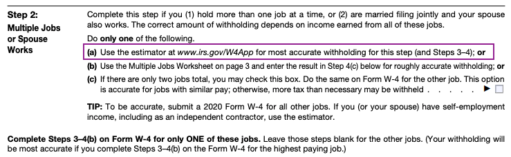 W-4 Form Step 2 Multiple Jobs or Spouse Works