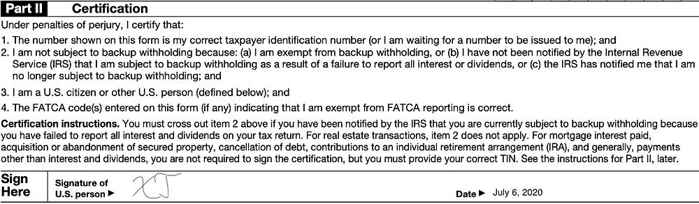 W-9 Form Signature