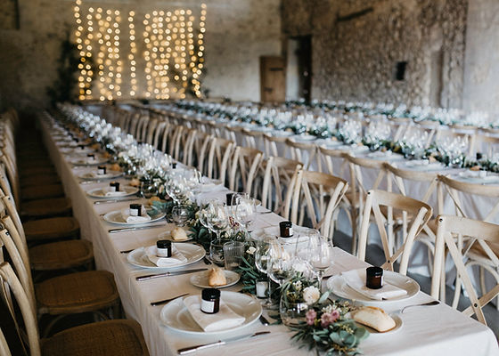 Tables dressed for wedding reception
