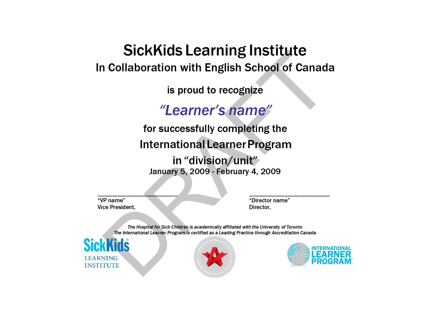 "Certificado de visita ao ""Sick Kids"""