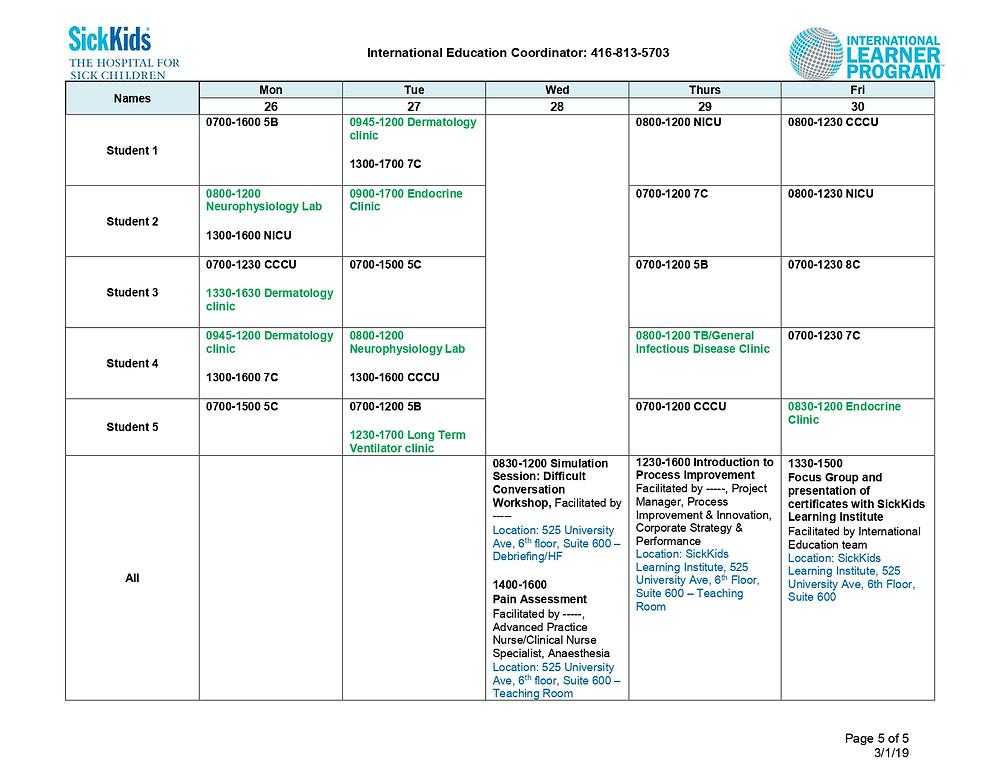 Exemplo da programação diária de visitação