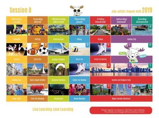 Calndário de atividades - BLI 2019