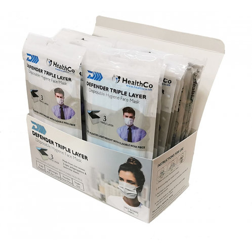 DEFENDER DISPOSABLE HYGIENE 3 PLY FACE MASK - BOX/50 (WRAPPED IN 5's)
