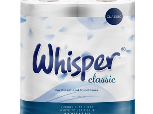WHISPER CLASSIC Luxury 3 Ply Toilet Rolls